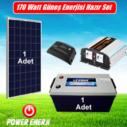 170 Watt Solar Enerji Sistemi Fiyatı -1 Bağ Evi ( Aydınlatma, Telefon Şarjı için)