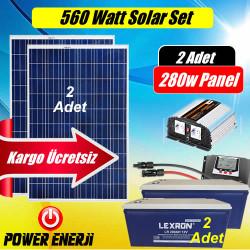 560 Watt Solar Enerji Sistemi ( 280Watt 2 Adet Güneş Paneli)