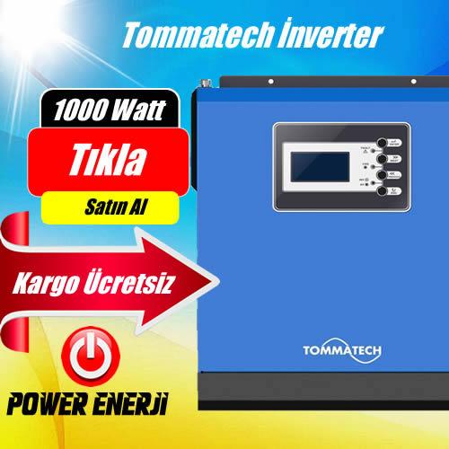 1 KVA 1000 Watt 12 Volt New  Tommatech  Tam Sinüs Akıllı İnverter Fiyatı