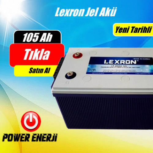 105 AH 12 Volt Lexron Jel Akü Deep Cycle (Güney Kore )