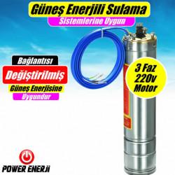 3 Faz 220v Dalgıç Pompa Motoru 1 Hp - 1.5 Hp - 2 Hp Motorlar - Güneş Enerjili Sulama Sistemlerine Uygundur