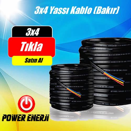 3 x 4 TTR %100 Bakır Kablo Fiyatı (100 Metre Fiyatı) (Dalgıç Pompa Kablosu)