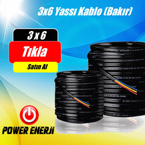 3 x 6 TTR %100 Bakır Kablo Fiyatı (Dalgıç Pompa Kablosu) - 100 Metre Fiyatı