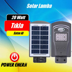 20 Watt Led Solar Park Bahçe Sokak Cadde  Aydınlatma Armatürü (ALL IN ONE)
