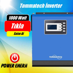 1 KVA 1000 Watt 12 Volt Tommatech  Tam Sinüs Akıllı İnverter