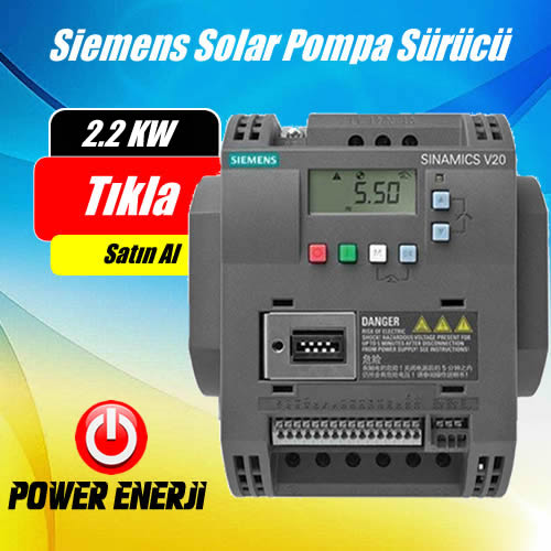 2.2 Kw 3Hp Siemens Monofaze (220volt) Solar Pompa Sürücü Fiyatı