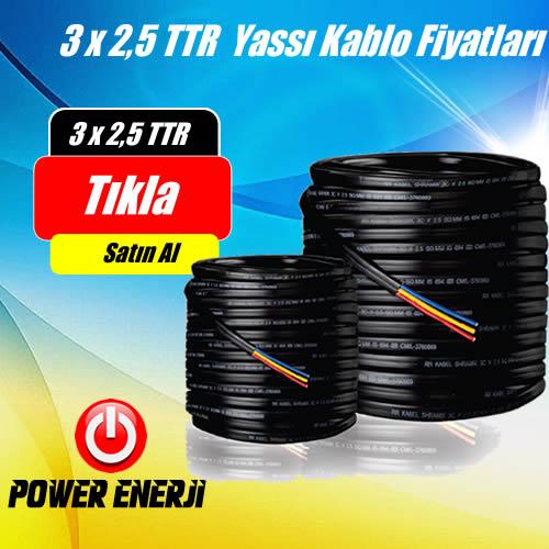 3 X 2,5 TTR Yassı Kablo / Dalgıç Pompa Kablosu Fiyatları(100 Metre Fiyatı)